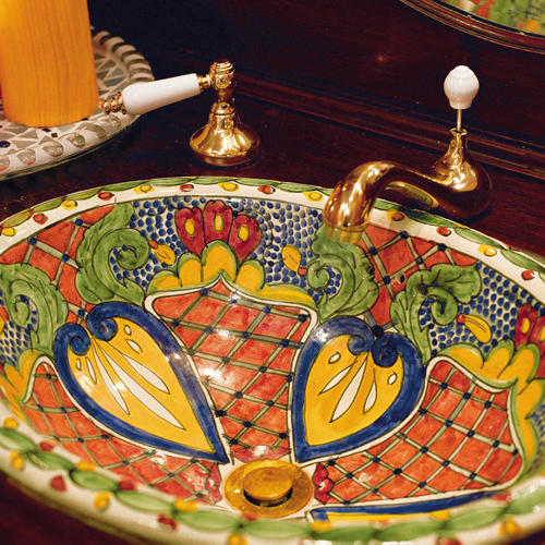 Bold colors bathroom sink southern living for Mexican themed bathroom ideas
