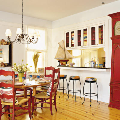 Model Style Kitchen Red And Wite : Nautical Beach Kitchen - Beach-Inspired Kitchen Ideas - Southern ...
