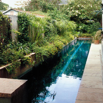 Inspiring pools urban pool retreat sparkling pools southern living for How long is a lap in a swimming pool