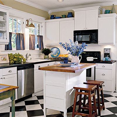Black-and-White Cottage Kitchen - 104 Beautiful Kitchens