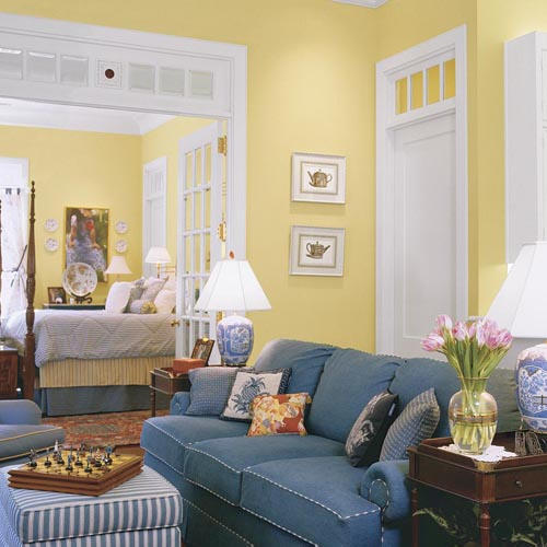 Keep a room sunny yet private with a clever trick for Pale yellow living room walls