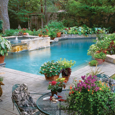 inspiring pools poolside container garden sparkling pools southern living. Black Bedroom Furniture Sets. Home Design Ideas