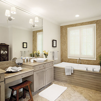 Master bathroom decorating design design a modern tub for Decorating ideas tub surround