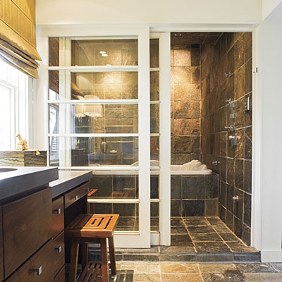 Alternatives to standard glass shower doors for Southern bathroom ideas