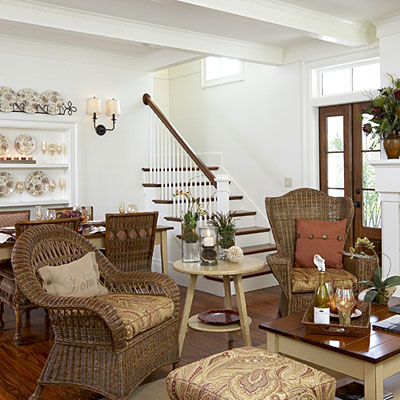 Use naturally occurring colors and textures to give an for Southern living decorating ideas living room