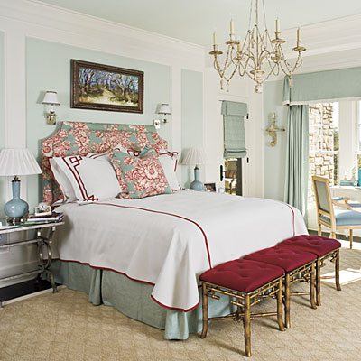 the pattern on the upholstered headboard served as an inspiration for