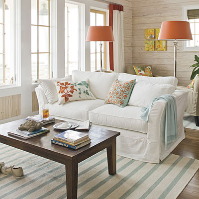 Coastal style living room easy home decorating ideas for Coastal living rooms ideas