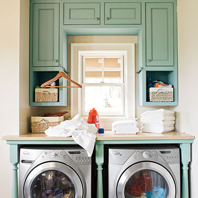 Use a Serene Color Palette - 10 Ways to Organize the Laundry Room