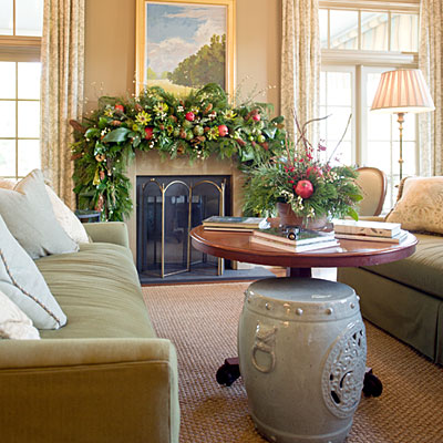 natural mantel idea house christmas decorations southern living