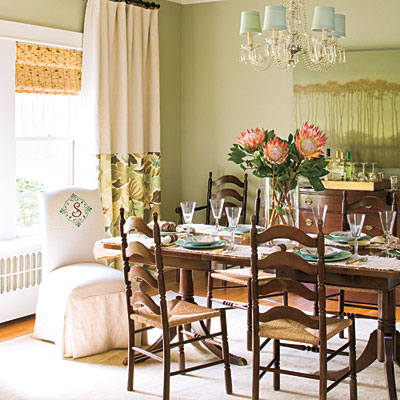 Dining room decorating ideas layer window treatments - How to decorate a dining room ...