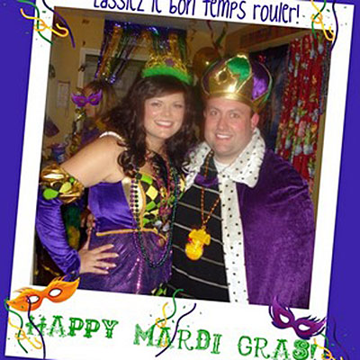 my husband and i at our annual mardi gras party in statesboro ga we
