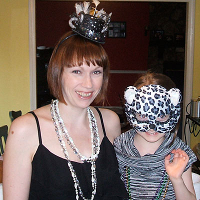 photo of my daughter and i from the mardi gras party we threw last