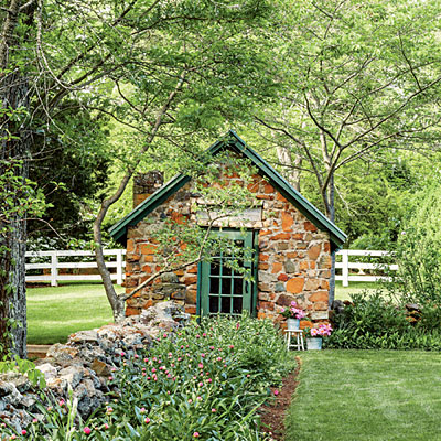 The Stone Garden Shed   All Green Garden Design   Southern Living