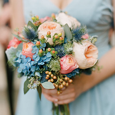 Gorgeous Blue Accents Hydrangea Wedding Bouquets Southern Living