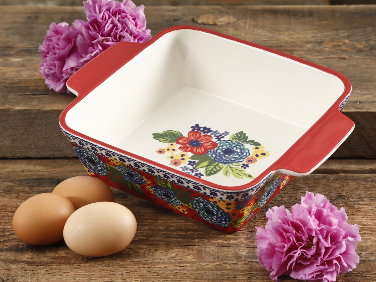 The Pioneer Woman Dazzling Dahlias 8  Square Baker