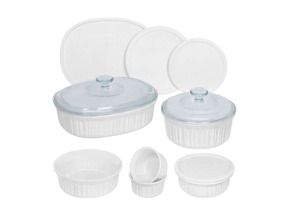 CorningWare French White Round and Oval Bakeware Set