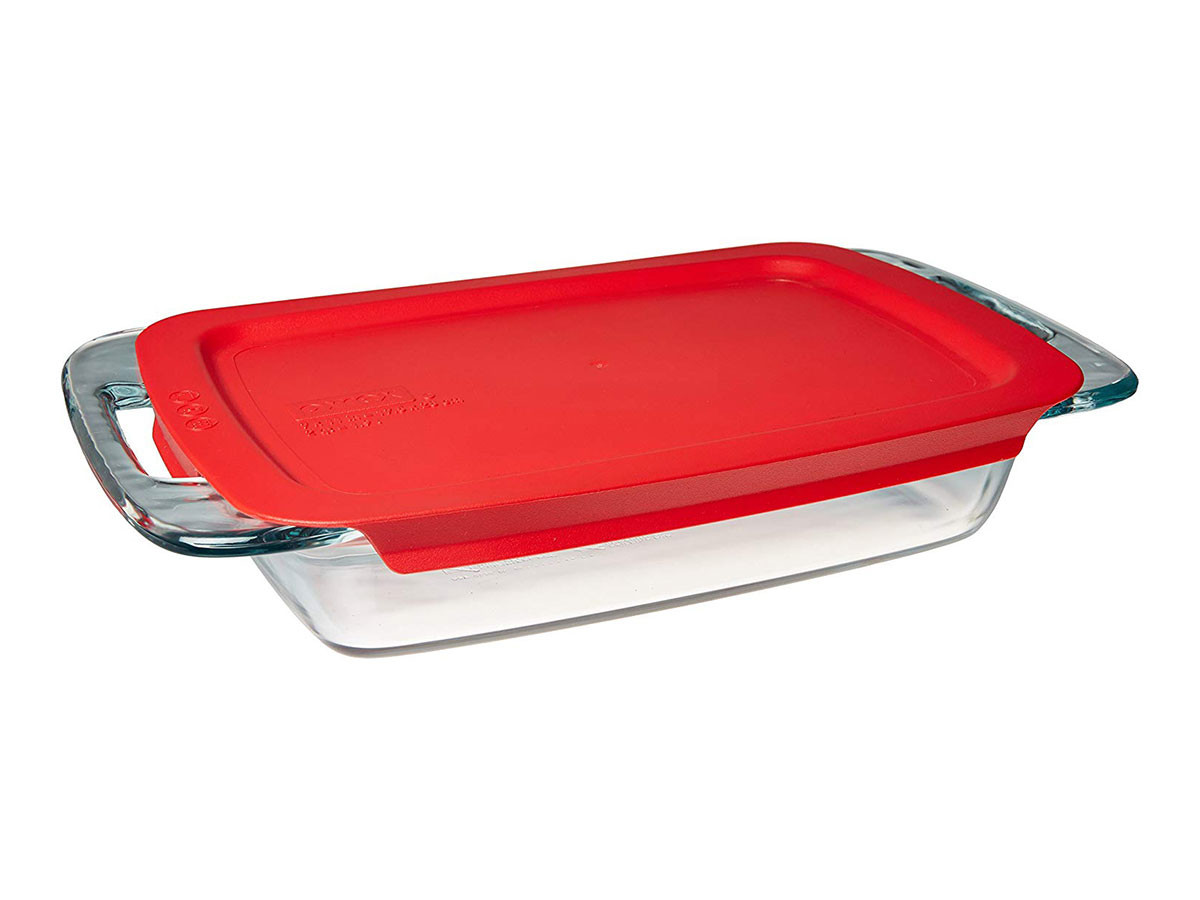 Pyrex Easy Grab Glass Oblong Baking Dish with Red Plastic Lid