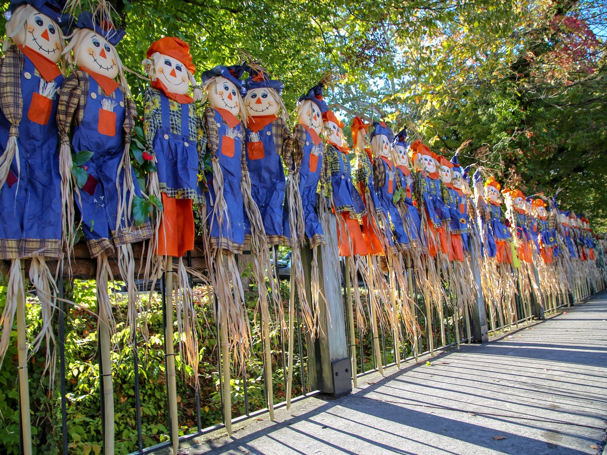 Fenceline of Scarecrows in Gatlinburg, TN