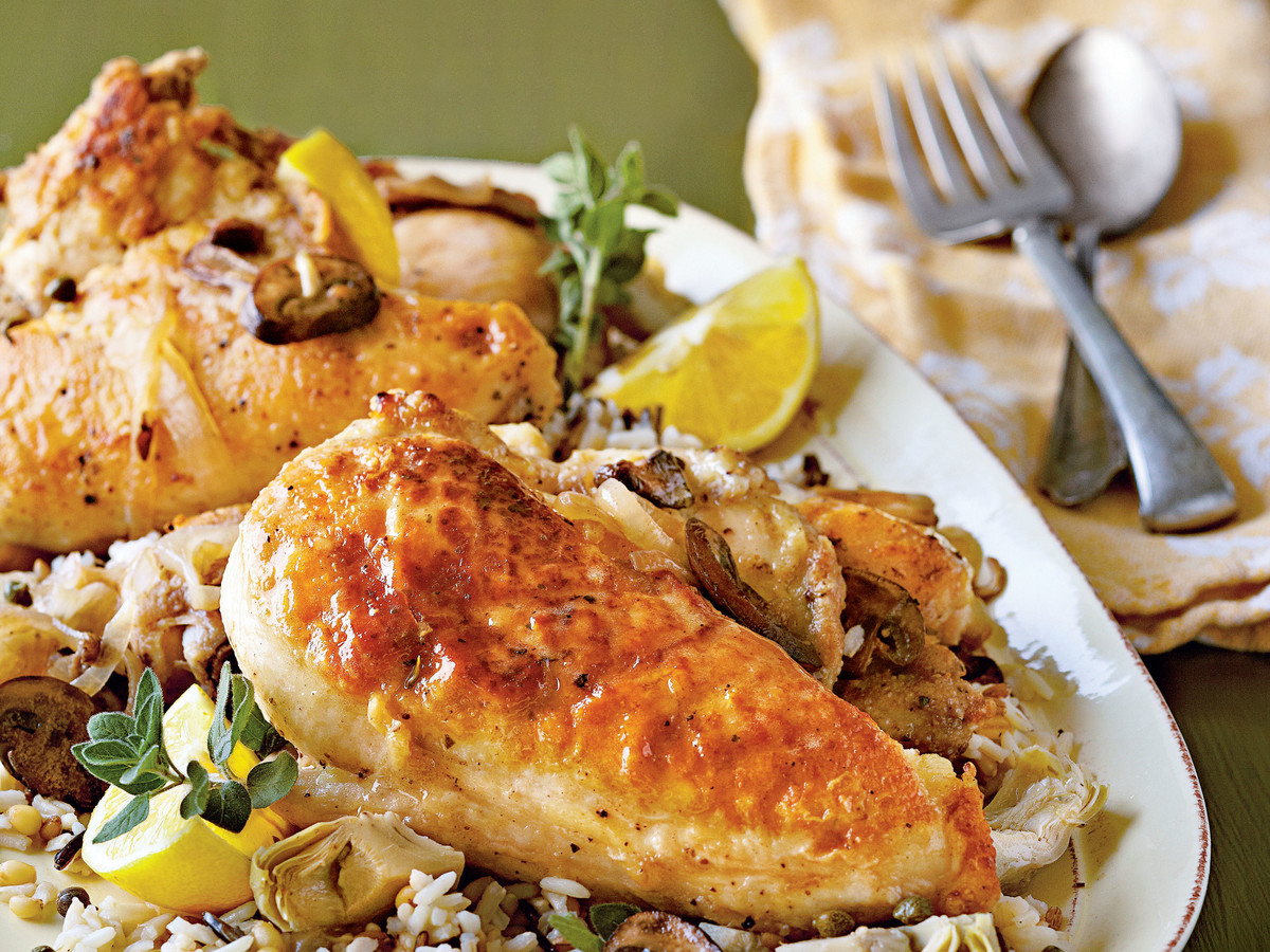 Chicken with Artichokes and Wild Mushrooms