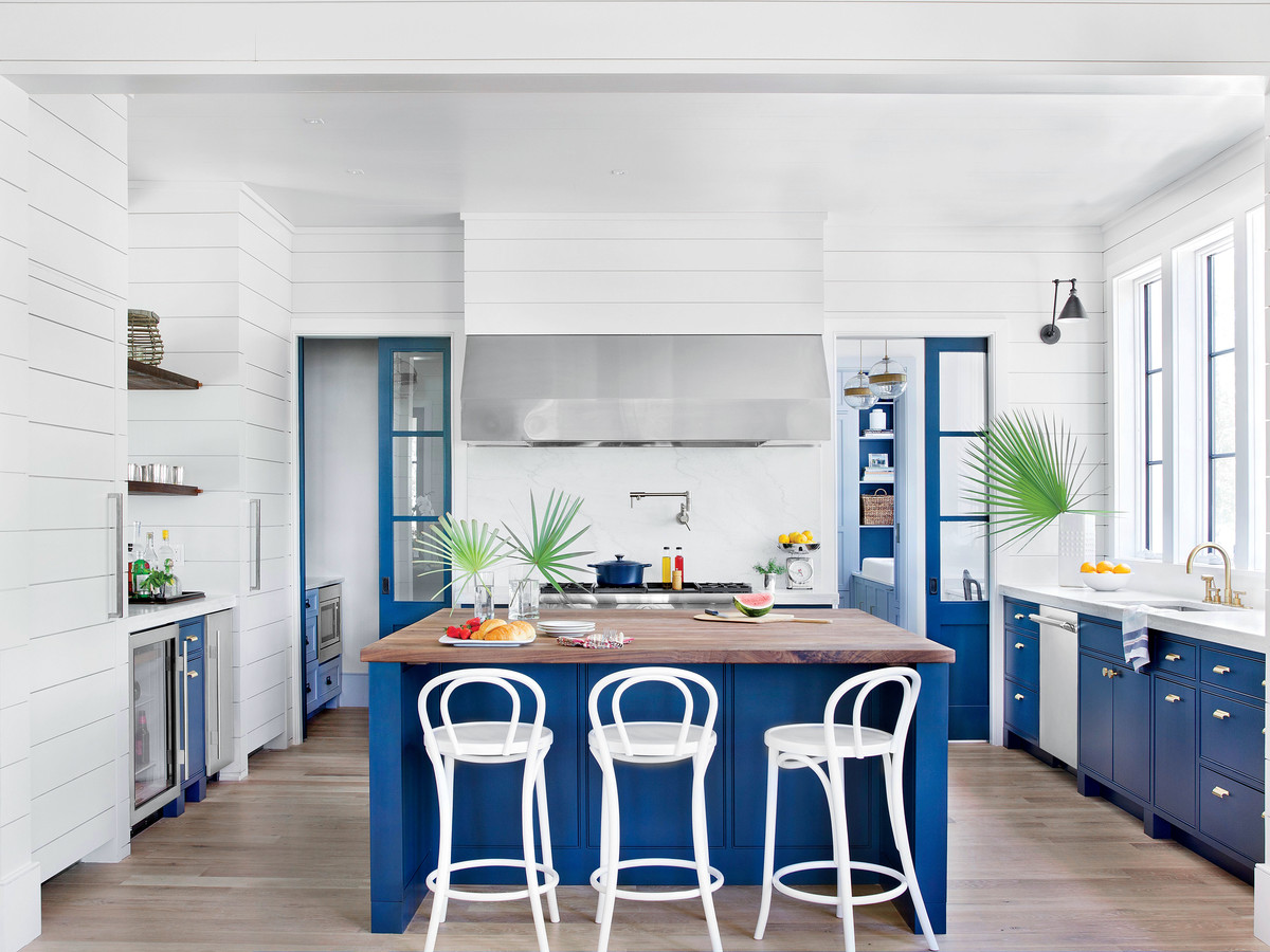 Blue and White Beach House Kitchen