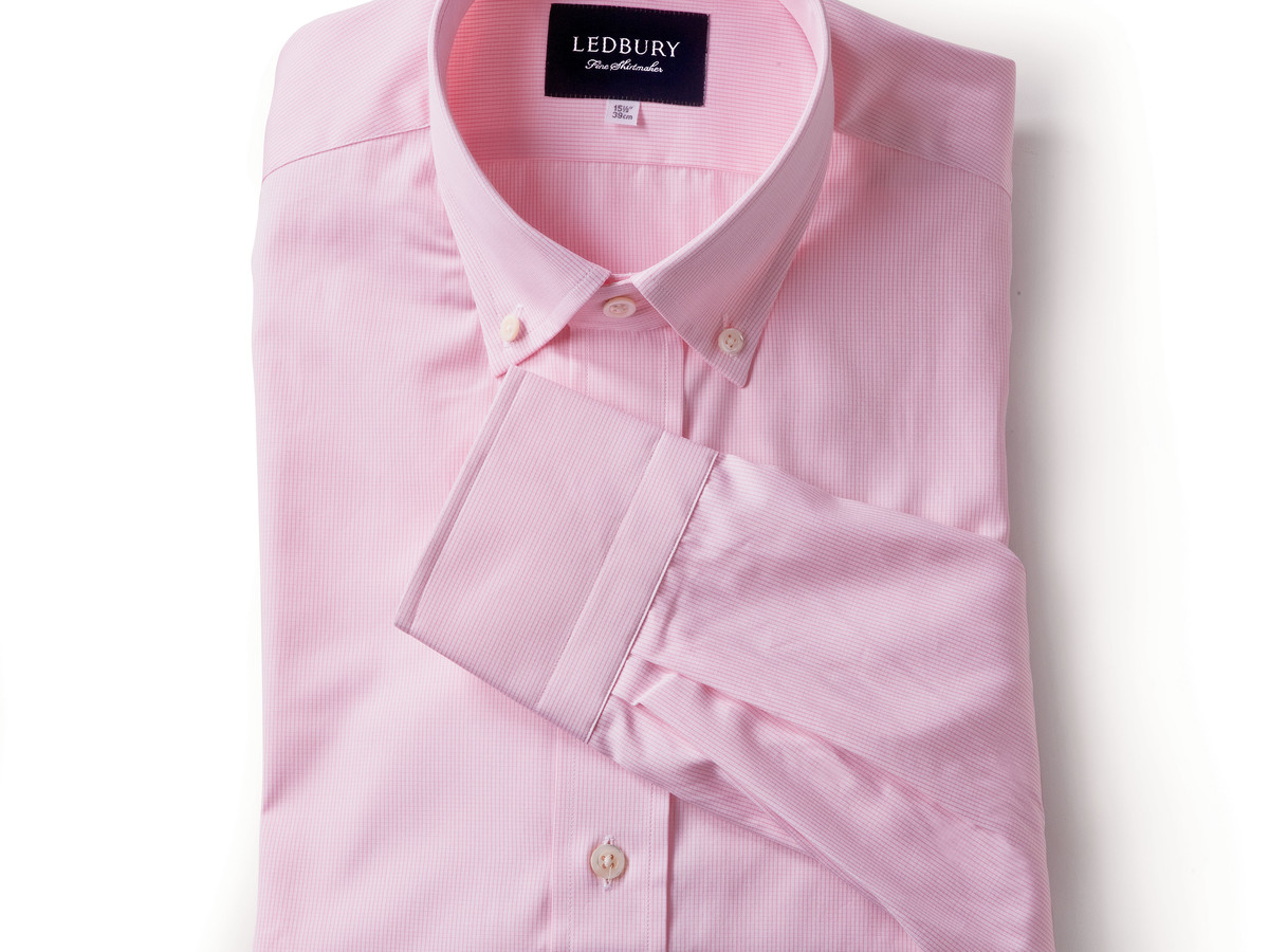 The Pink Micro-Check Button Collar Shirt