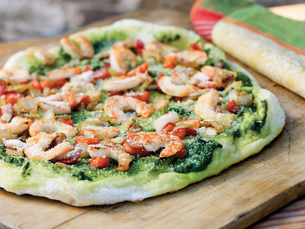 Pizza Recipes: Shrimp-Pesto Pizza
