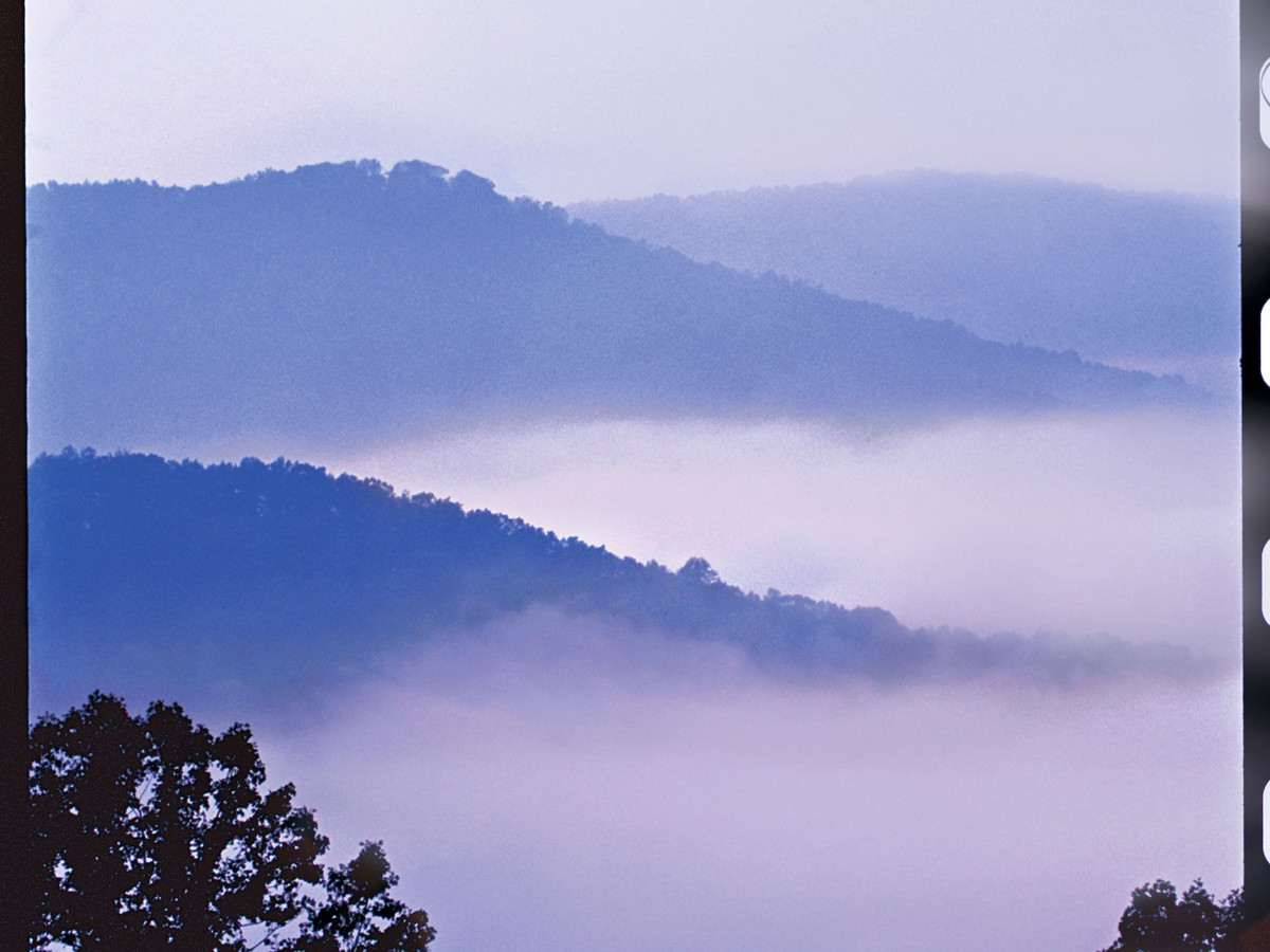 Abundant overlooks offer views of mist-shrouded mountains along the parkway.