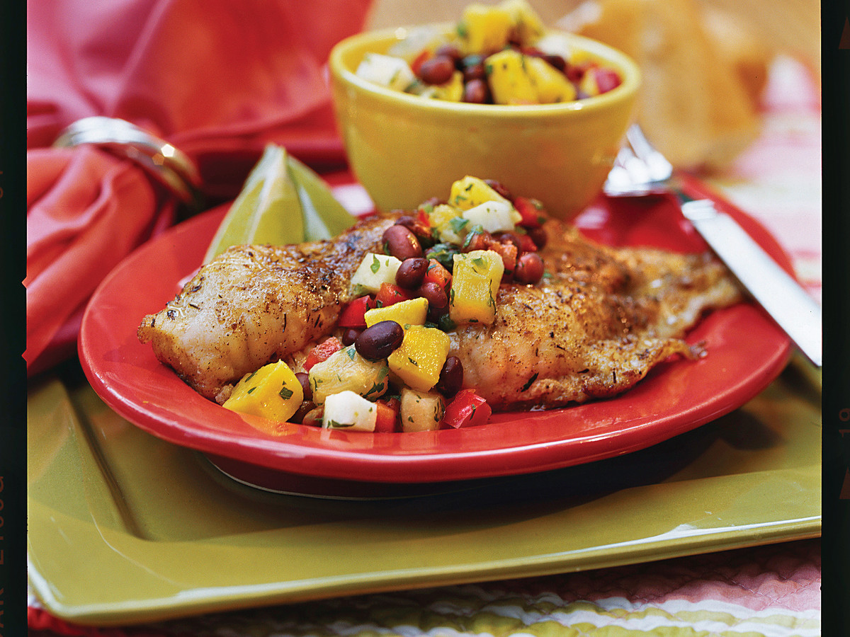 Caribbean Catfish with Mango-Black Bean Salsa