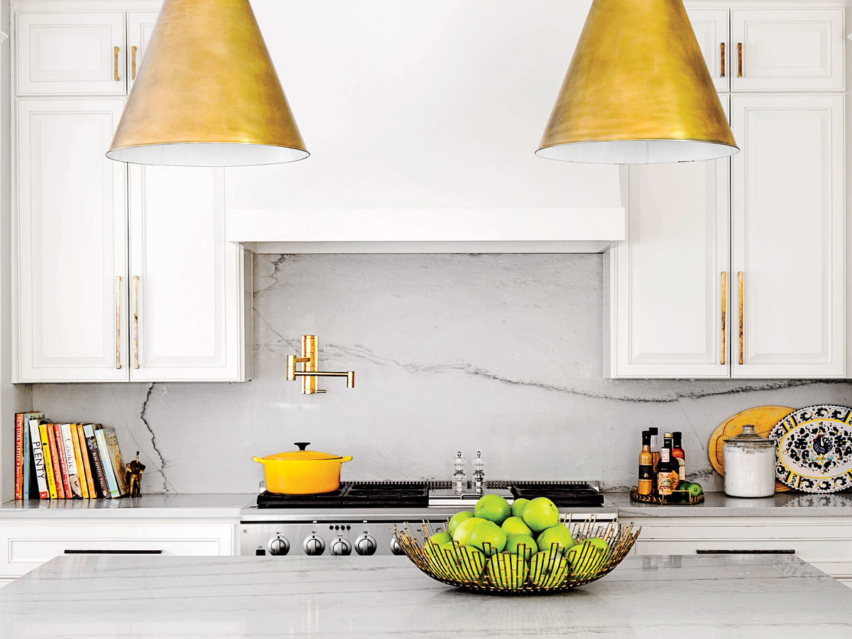 White Kitchen with Marble Countertops and Acrylic Stools & 10 Classic Backsplash Options That Arenu0027t White Subway Tile ...