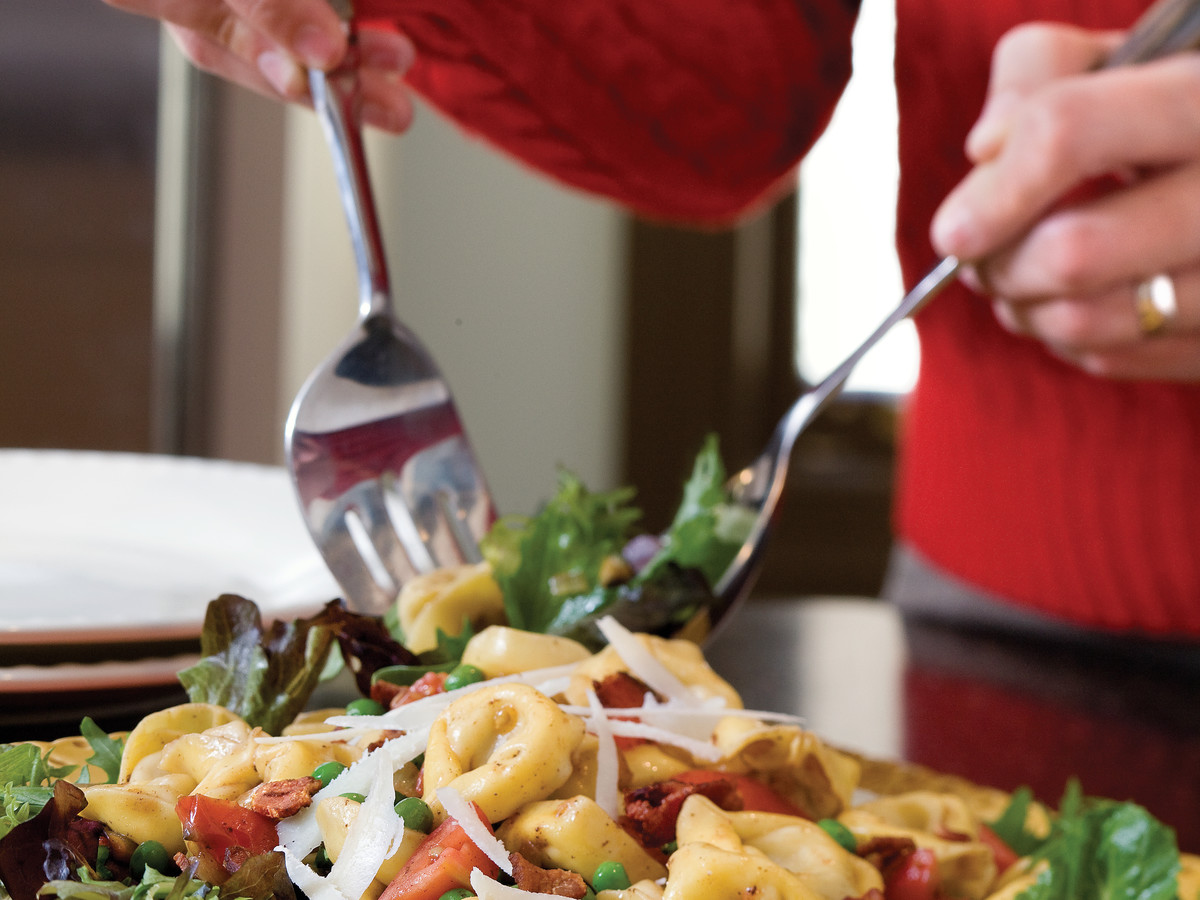 Easy Pasta Recipes: Porcini Mushroom Tortelloni With Wilted Greens