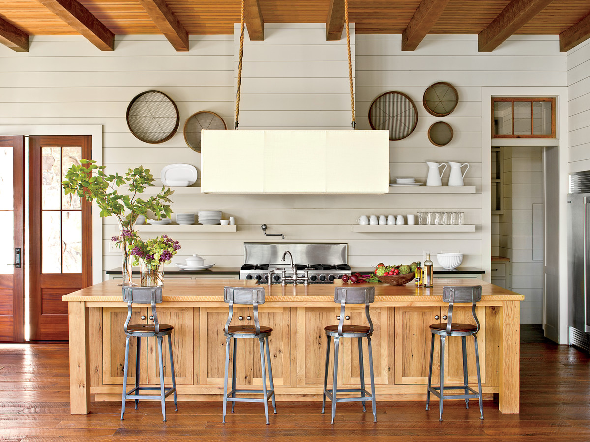 Open Kitchen with Shiplap Walls