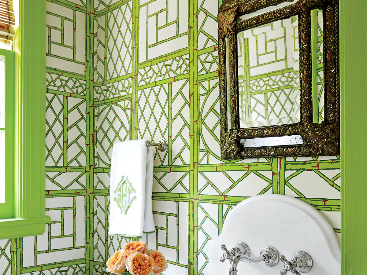 Green Powder Room Wallpaper