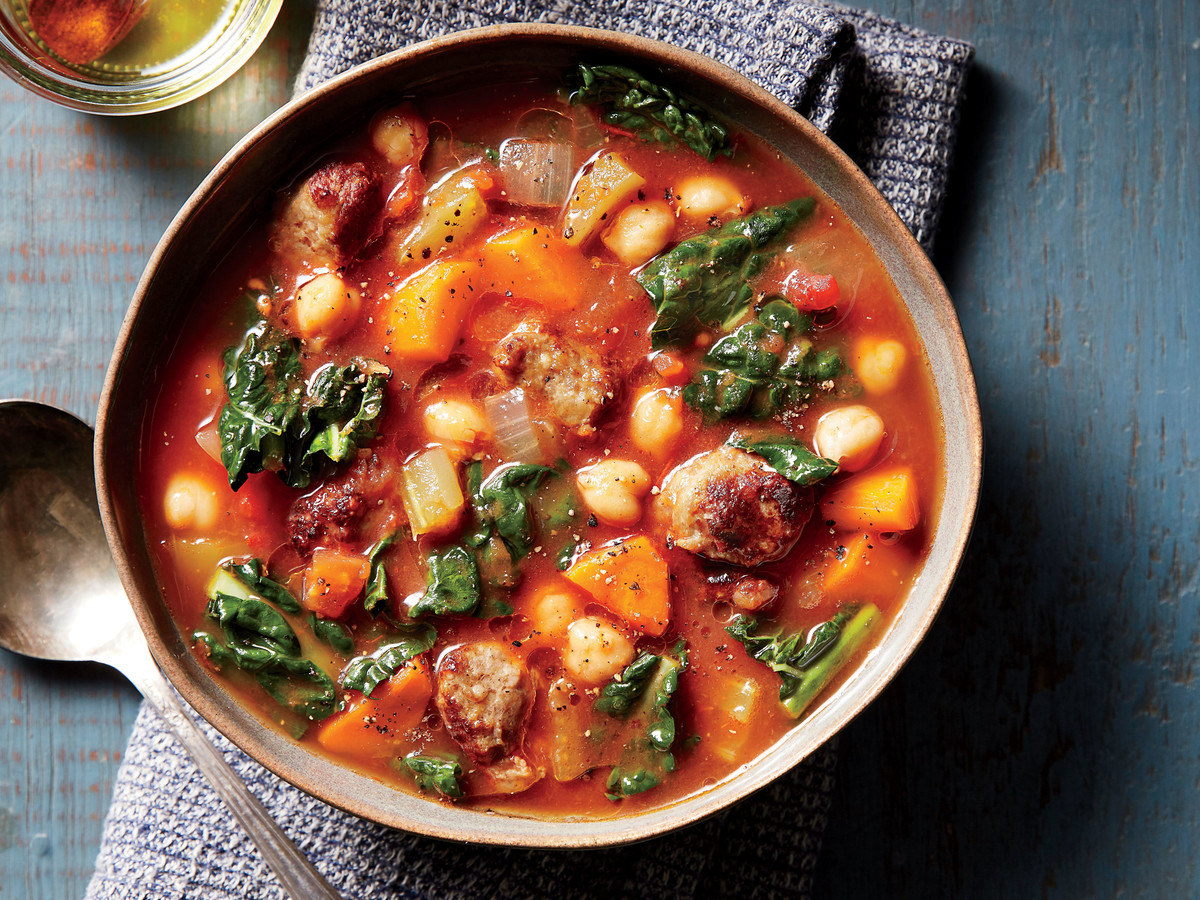Spicy Sausage Chickpea Soup