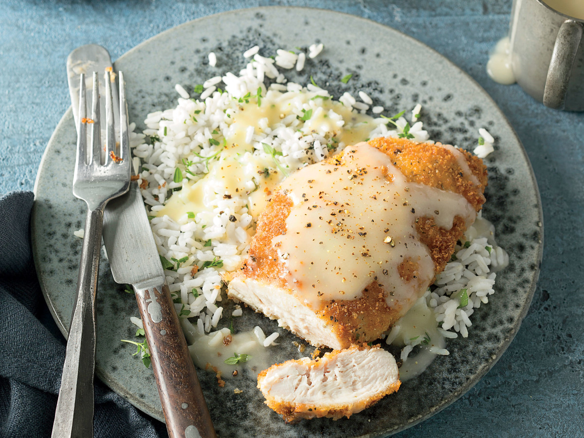 Pam Lolley's Crispy Chicken with Rice and Pan Gravy