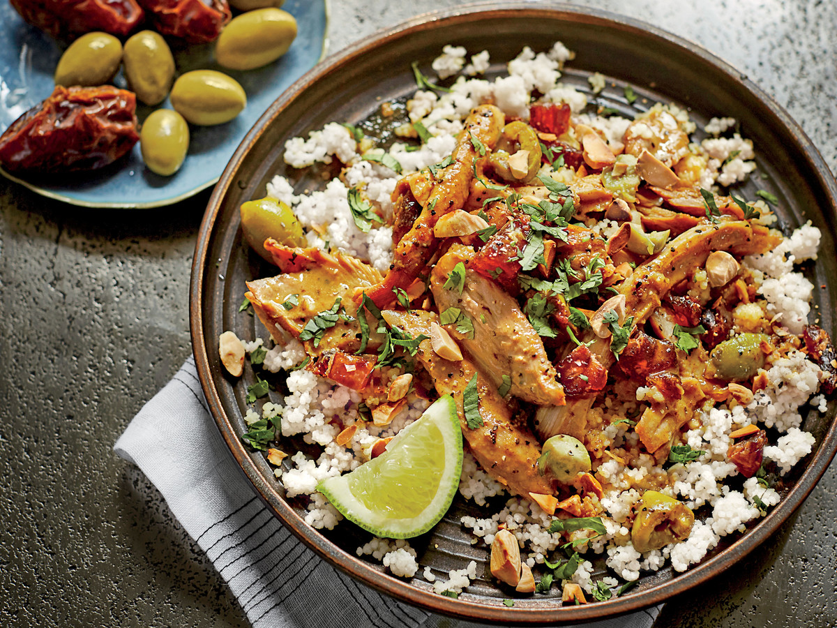 Moroccan Turkey Legs and Thighs with Fruit, Olives, and Almonds