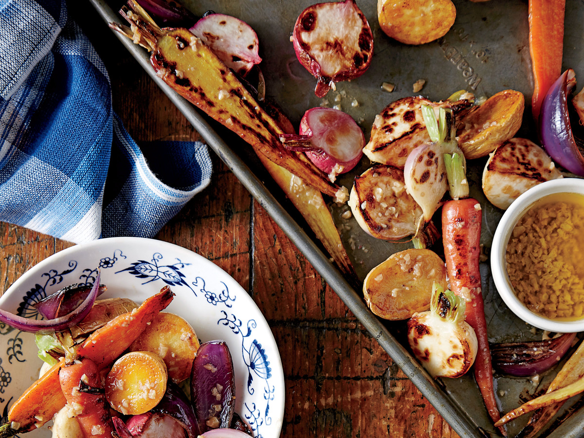Charred Root Vegetables with Bagna Cauda