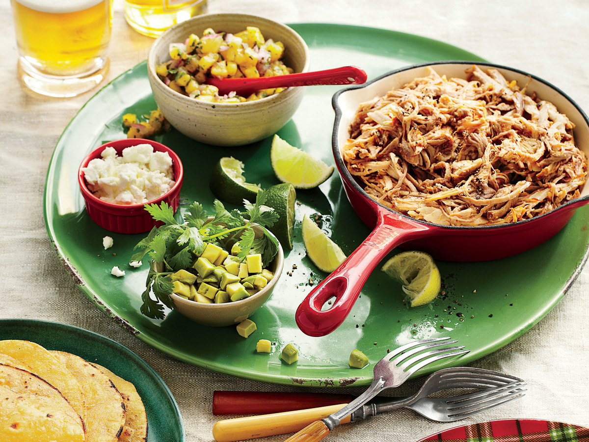 Slow-Cooker Pork Tacos Al Pastor with All the Fixings