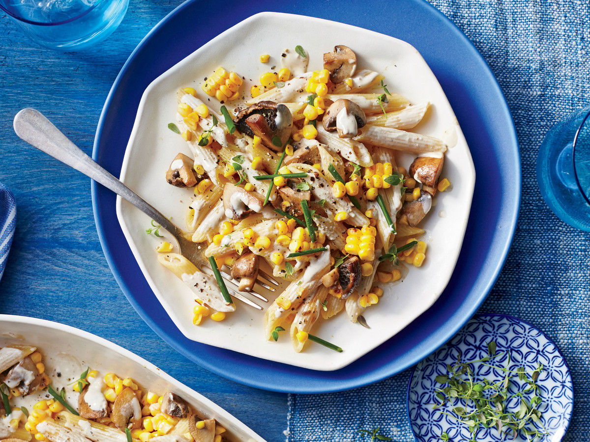 Penne with Mushrooms, Corn, and Thyme