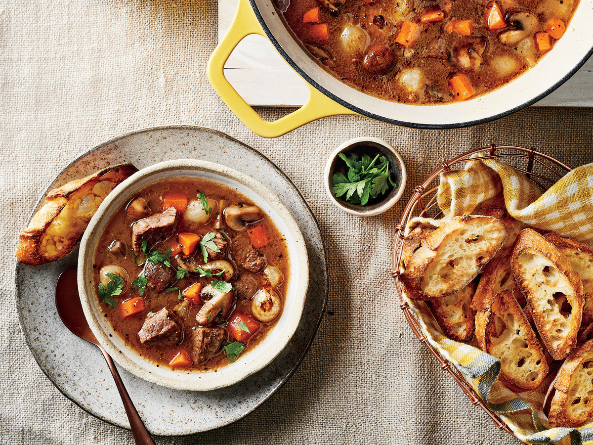 Beef Stew with Buttery Garlic Bread