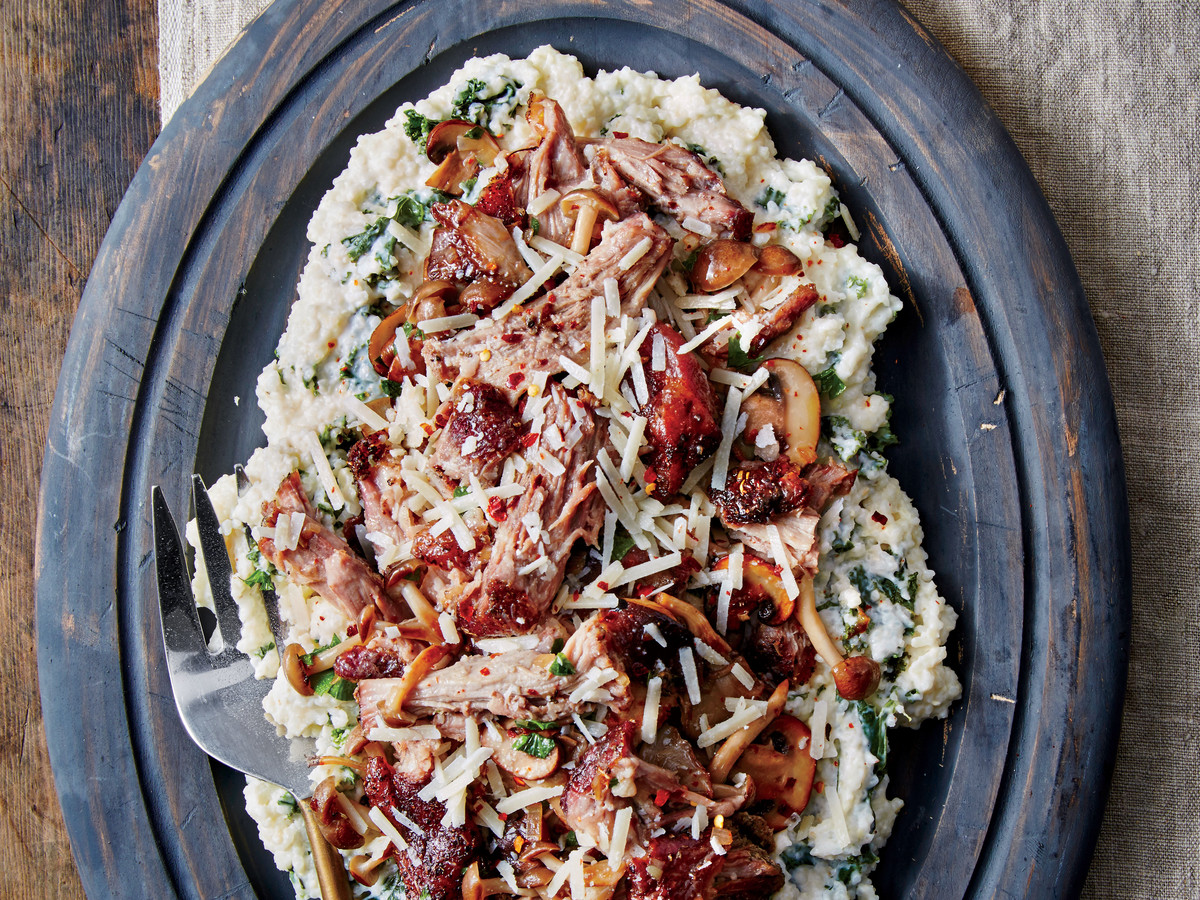 Italian-Style Grits and Greens with Pulled Pork and Mushrooms