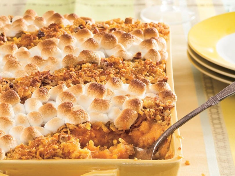 Sweet Potato Casserole with Marshmallows, Pecans, and Cornflakes