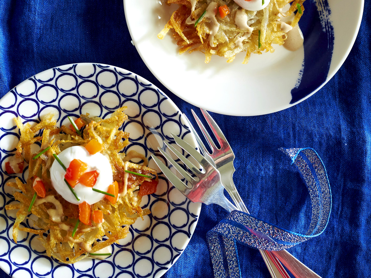 Potato Latkes with Tahini, Yogurt, and Roasted Red Pepper Topping