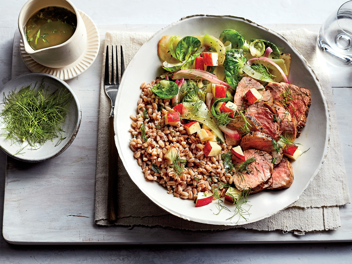 Pork-and-Farro Bowl with Warm Brussels Sprouts-Fennel Salad