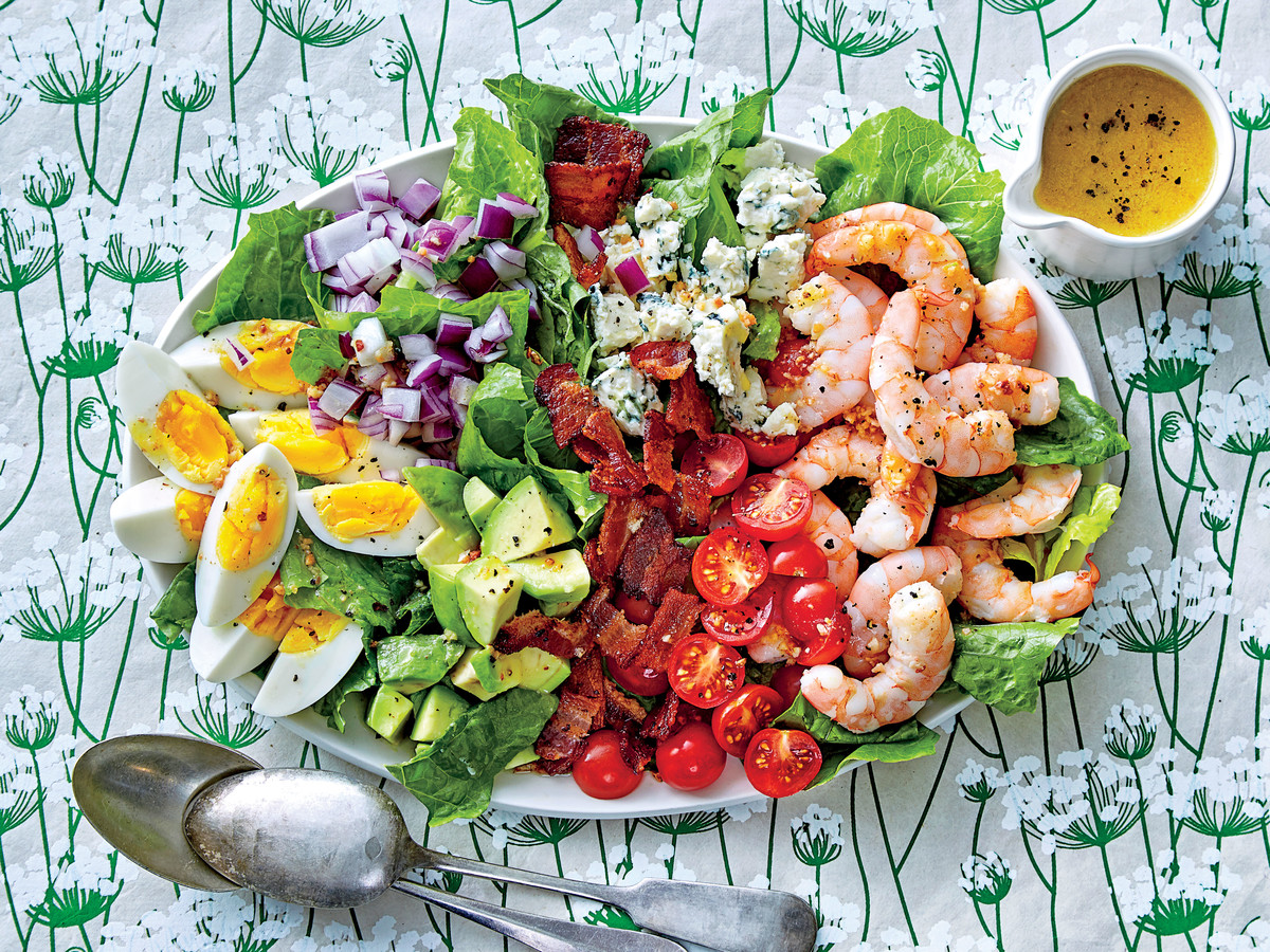 Shrimp Cobb Salad with Bacon Dressing