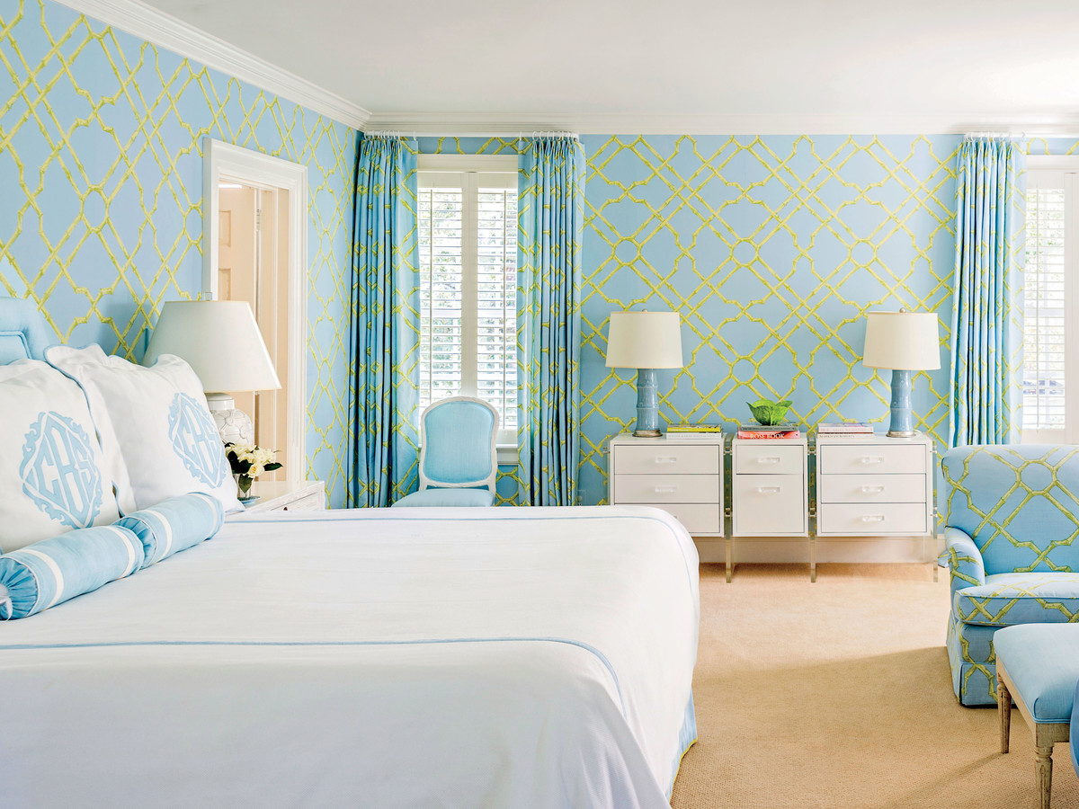 Lime Green and Light Blue Bedroom