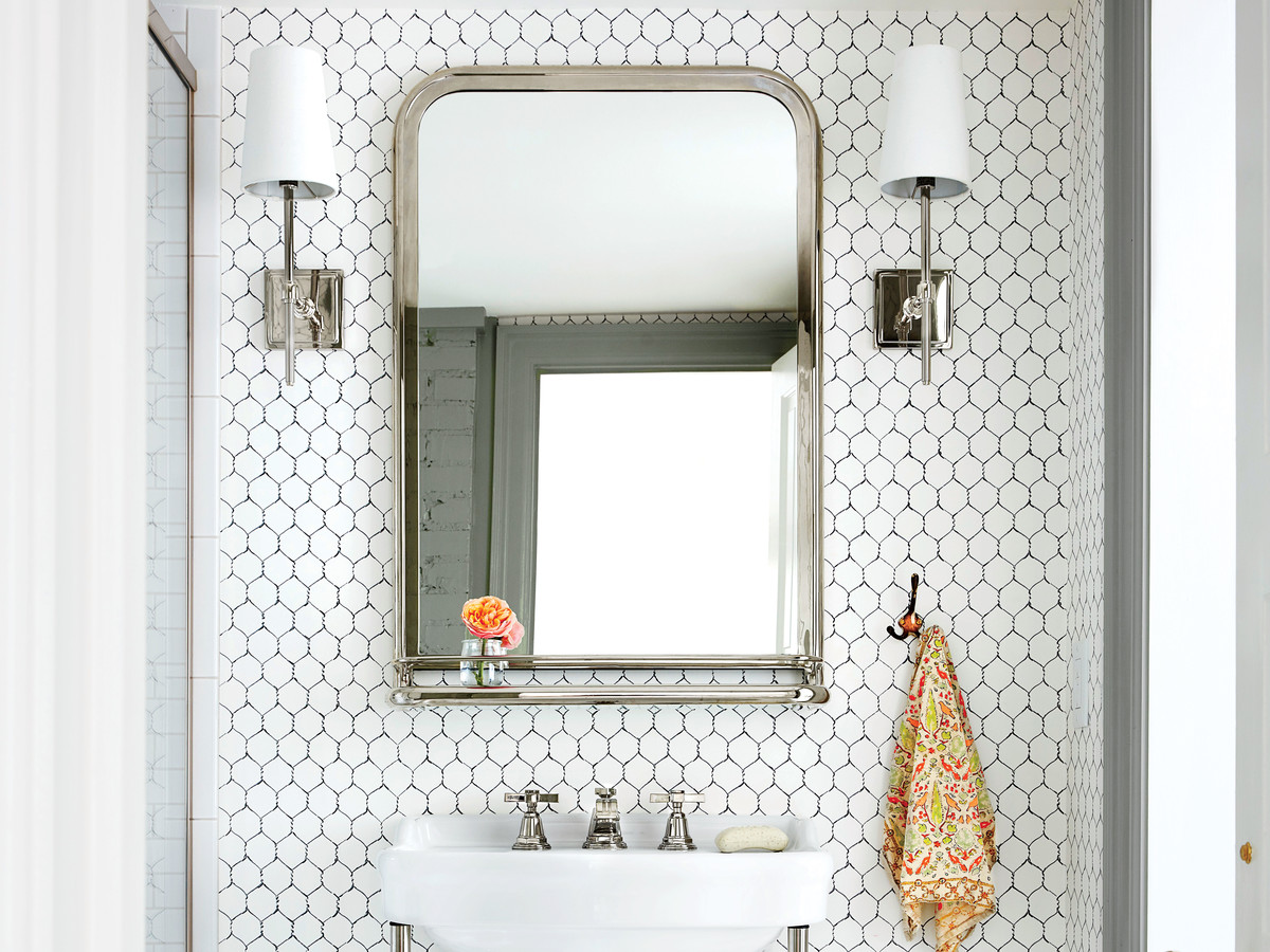 Chapel Hill House Bathroom with Chicken Wire Wallpaper
