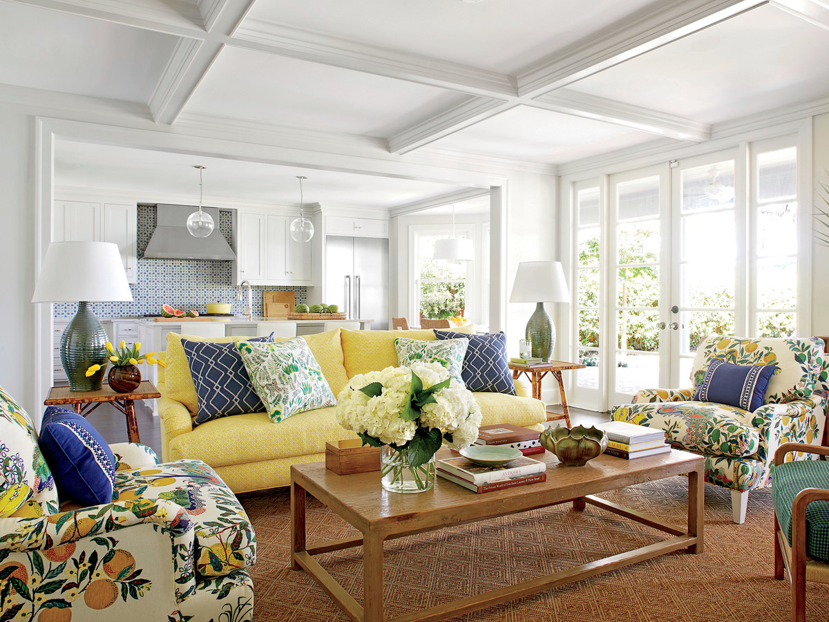 Andrew Howard Colorful Makeover Yellow and Blue Living Room