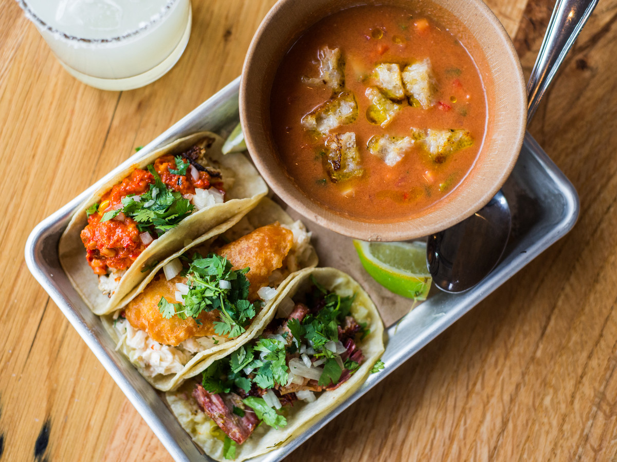 Bartaco Gazpacho and Three Tacos