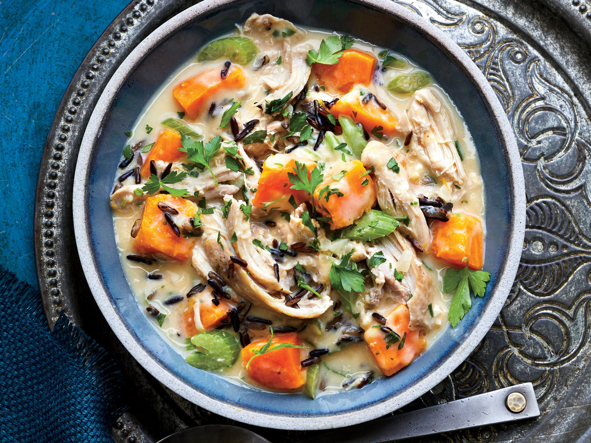 Slow-Cooker Chicken Stew with Pumpkin and Wild Rice