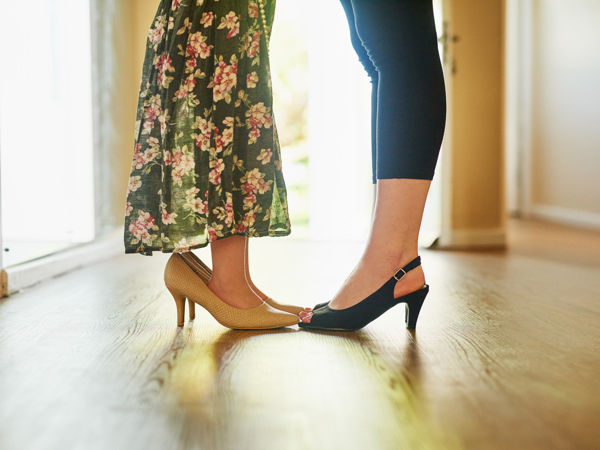 Mom and Little Daughter in High Heels